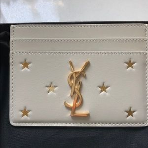 Saint Laurent cardholder cream w/gold foiled stars
